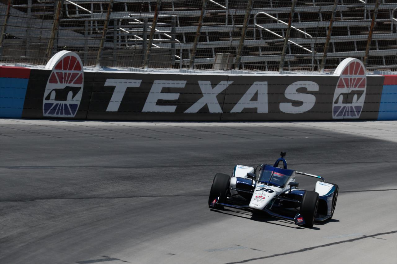 Takuma Sato during practice at Texas last year, the PJ1 compound can be seen in the darker portion of the track above - INDYCAR Media Site